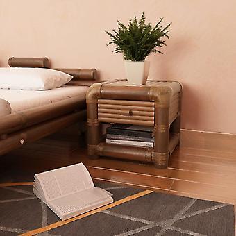 Mesa de cabeceira vidaXL 45×45×40 cm Bambu Marrom Escuro