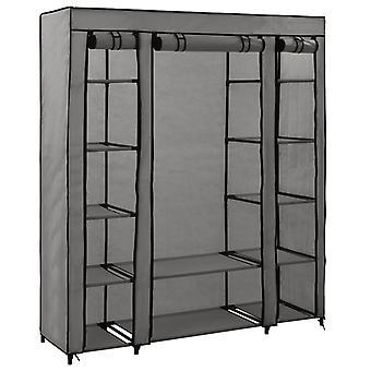 vidaXL fabric cabinet with compartments clothes rails grey 150x45x176cm