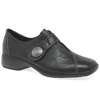 Rieker السيدات فاخر Velcro ابزيم أحذية جلدية