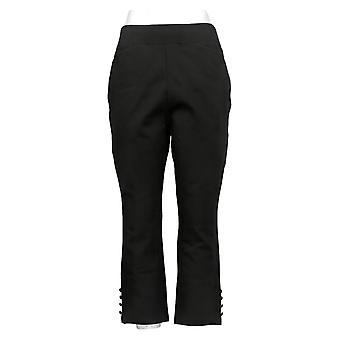 Belle by Kim Gravel Women's Pants Reg Ponte Cropped Button Black A378615