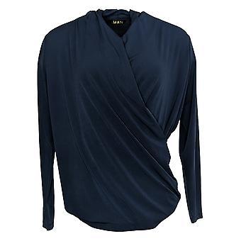IMAN Global Chic Women's Long-Sleeve Drape-Neck Top Blue 709242