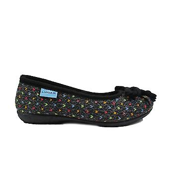 Lunar Tabby Black Textile Womens Slip On Slippers