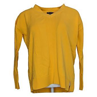 H Af Halston Kvinders Sweater V-Hals med Rib Detaljer Gul A366502