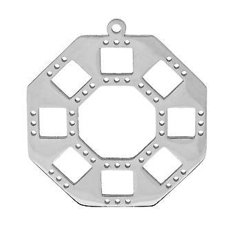 Centerline Beadable Pendant, Octagon med udskæringer og huller 31,5 mm, 1 stk. Rhodium forgyldt