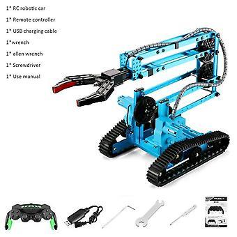 RC Robotic Arm Car Aluminum Alloy Robot 2.4Ghz with Wheels DIY Building Toy for Kids|RC Robot(Blue)