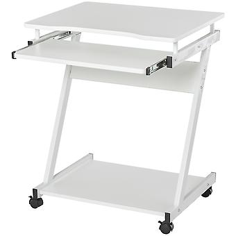 HOMCOM Movable Computer Desk with 4 Moving Wheels Sliding Keyboard Tray Home Office Workstation White