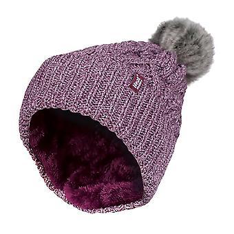 Damer manschett fleece fodrad pom pom mössa hatt