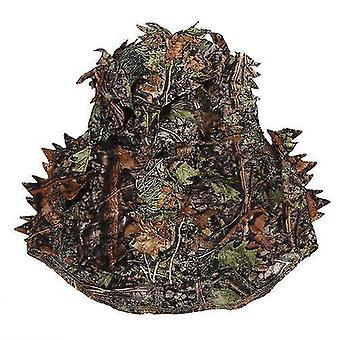 Für Camouflage Blattjagd Ghillie Kapuze grün Blatt kopf Netz Augenloch Öffnung und Blatt Muster WS45023