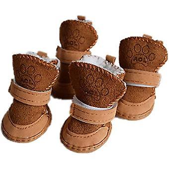 5 (Hmotnost * 12lb) hnědé štěně útulné teplé protiskluzové zimní boty pro domácí zvířata fleece snow shoes dt7305