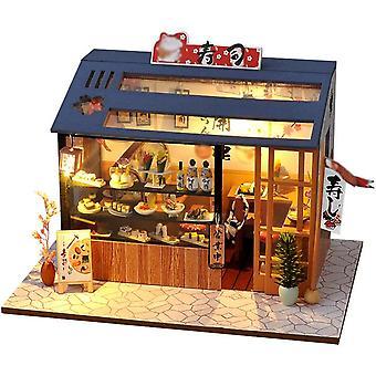 Dollhouse miniatuur pop met led licht huis creatieve hand-geassembleerde kleine winkel model kinderen speelgoed cadeau miniatuur houten huis