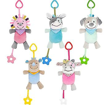 5pcs Colorful Animals Baby Hanging Toys Children Rattle Toys With Teether Bell Soft Plush Rattling Doll