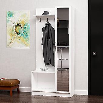 Mobile Ingresso Orion, Colore Bianco, Noce in Truciolare Melaminico, Specchio, L80xP32xA173 cm