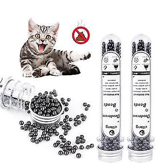 Perline deodoranti per lettiera gatto 90ml Odoro Carbone attivo assorbe escrementi per animali domestici Puzza Deodorante