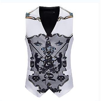 Mens Single Masquerade Breasted Vest Gothic Steampunk Victorian Brocade Waistcoat(2XL)