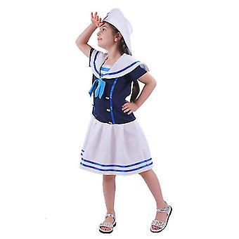 Κοστούμι ναυτικών ωκεανών των παιδιών με το καπέλο και το φόρεμα διακοπών δεσμών επάνω (130-140cm)