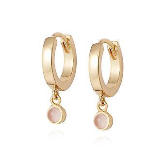 Daisy Rose Quartz Healing Huggie Hoops 18ct Gold Plate Earrings HE3005_GP