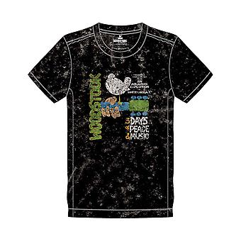 Woodstock T Shirt Poster new Official Mens Black Snow Wash