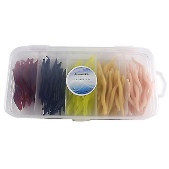 150Pcs/Set 4cm Simulation Earthworm Mixed Color Worms Artificial Fishing Lure With Tackle Box