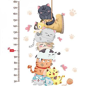 Cute Cats Measure Height Wall Sticker Decals (size:140cm X 75cm)