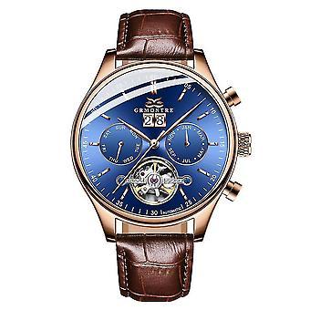 Tourbillon Mechanical, Automatic Classic Leather, Hombre Watch(G-6601M Rose Blue)