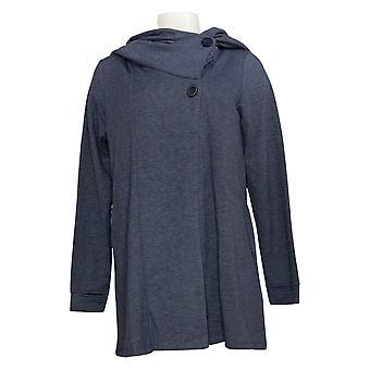 Soft & Cozy Women's Button Front Cape w/ Hood Blue