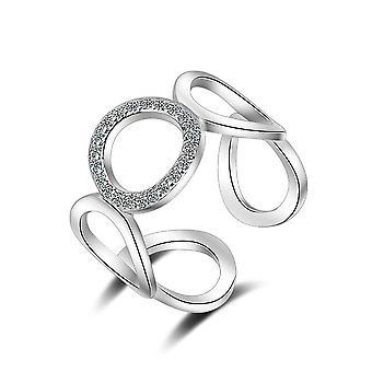 2PCS Copper Geometric Rings for Women Fashion Resizable Rings Wedding Jewelry