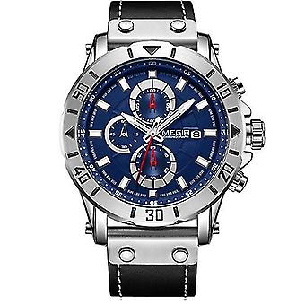 Mode Sport Timing Leder wilde Herren Quarzuhr (Blau)