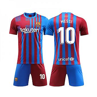 Barcelona Home Jersey No. 10 Messi Football Jersey Suit Adult Children Jersey