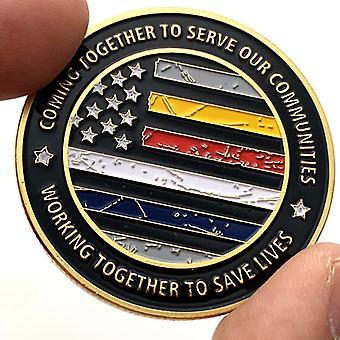 Amerikan raidallinen lippu maalattu kullattu medaljonki kohokuvied kultakolikolla viisikärkinen tähti muistokolikko