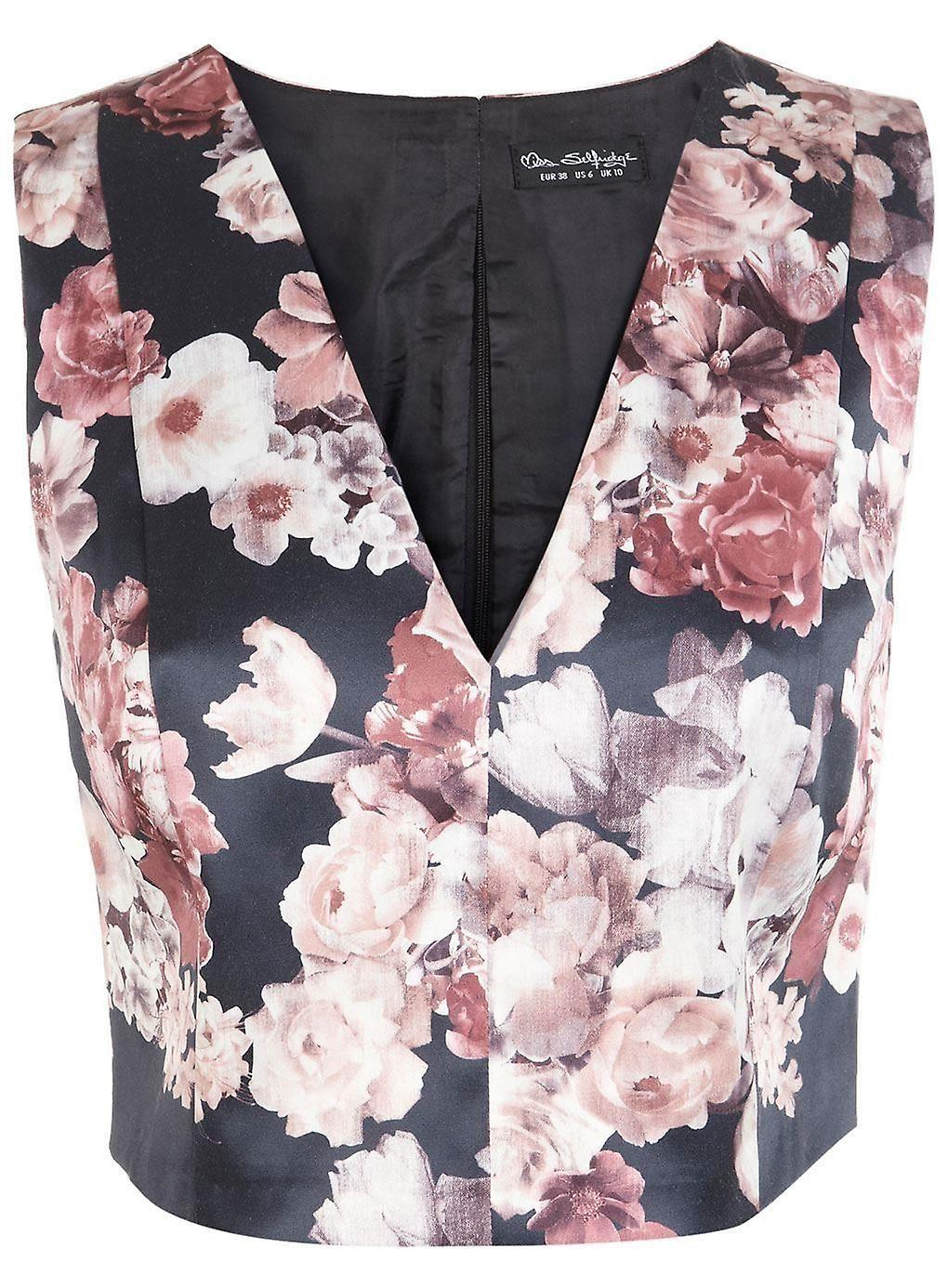 سيلفريدجي ملكة جمال المساء العنق الحرير الزهور اقتصاص حجم اكمام المملكة المتحدة أعلى 10