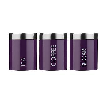 Premier Housewares Tea, Coffee & Sugar Canister Set, Purple