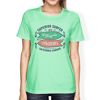 Superieure Surfer LA Longboard Mint Womens Vintage Design Tee Shirt