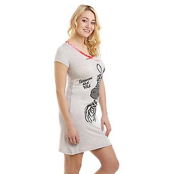 Camille Grey Short Sleeve Zebra Motif Nightdress