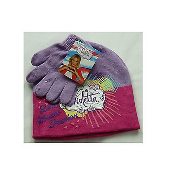 Disney Violetta Girls 2 Piece set Beanie Hat & Gloves
