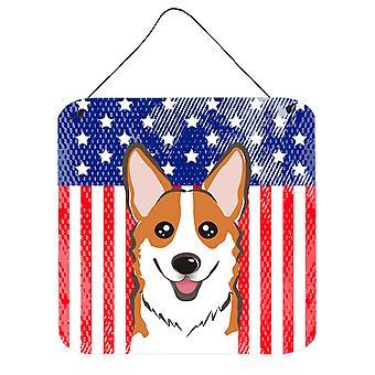 Amerykańską flagę i czerwony Corgi ściany lub drzwi wiszące drukuje
