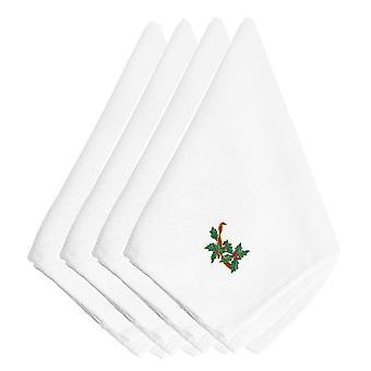Christmas Holly Ribbon String Embroidered Napkins Set of 4