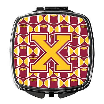 Letter X Football Maroon and Gold Compact Mirror