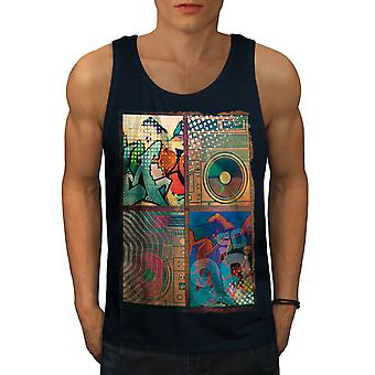 Urban Rap Street Music Men NavyTank Top | Wellcoda