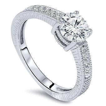 3 / 4ct Vintage Diamond Engagement Ring 14K Weissgold