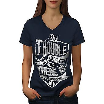 Trouble Real Life Women NavyV-Neck T-shirt | Wellcoda
