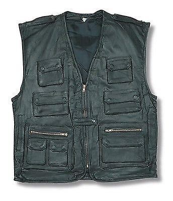 Multi Pocket Multi Functional Leather Waistcoat