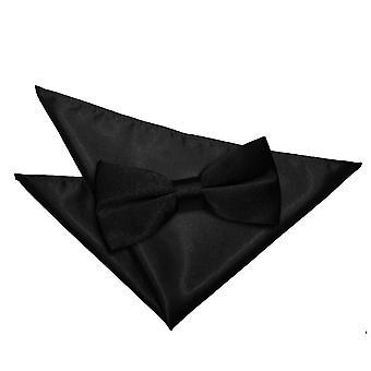 Zwarte platte satijnen strikje & zak plein Set