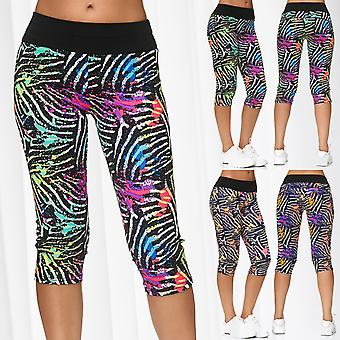 Ladies Capri Pants Sport Treggings 3/4 Fitness Trousers Cropped Stripes Training