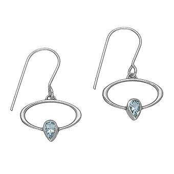 March Sterling Silver Traditional Birthstone Design Pair of Earrings - Aquamarine Stone - CE355