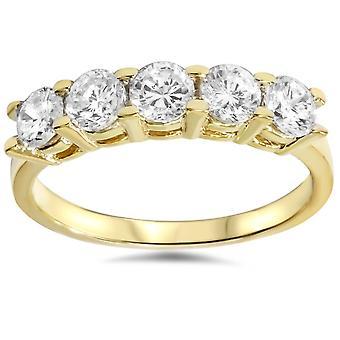 1 1/4 ct ダイヤモンド 5 石高研磨 14 k イエロー ゴールド周年記念リングを結婚式