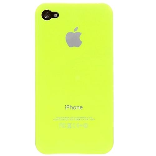 IPhone 4 & 4S Hard Plastic Cover Back Case with Apple Logo - Neon Yellow