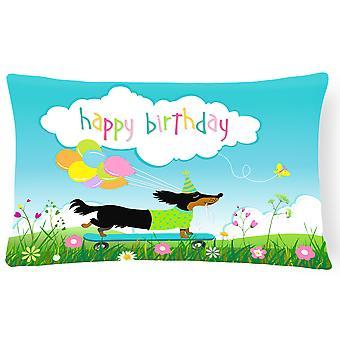 Happy Birthday Dachshund Canvas Fabric Decorative Pillow