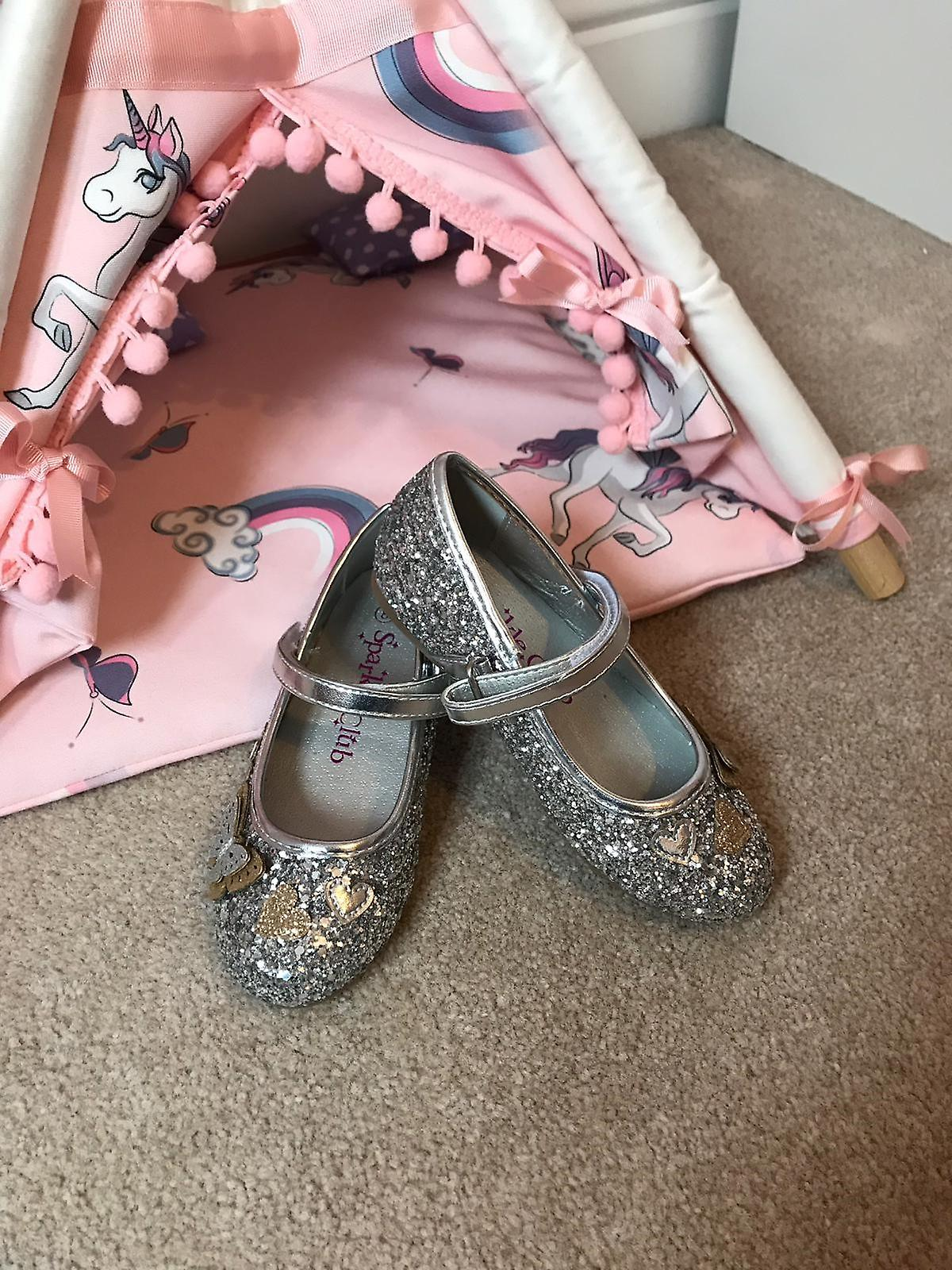 Girls silver sparkly glitter ballerina party shoes