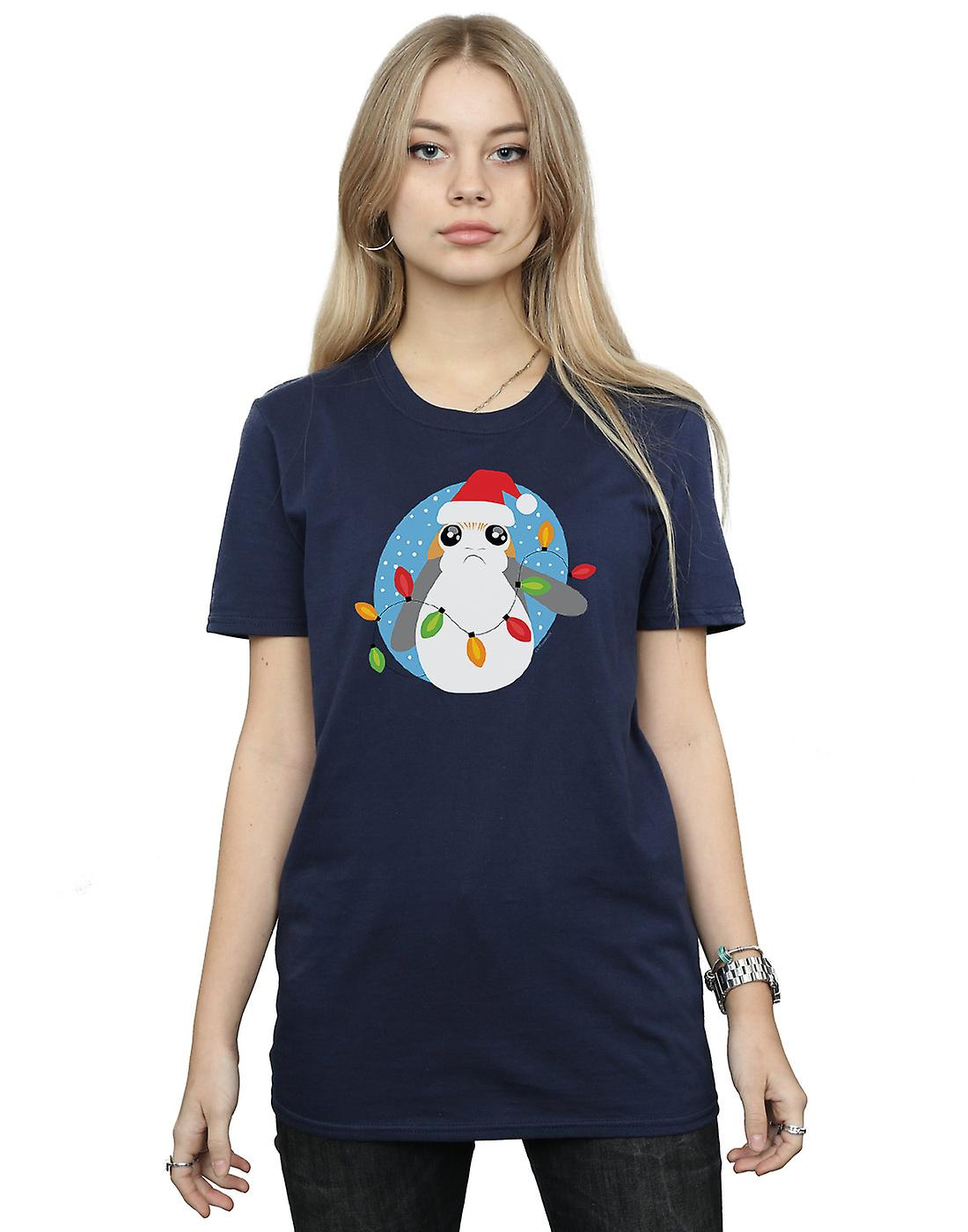Star Wars Women's The Last Jedi Porg Christmas Lights Boyfriend Fit T-Shirt