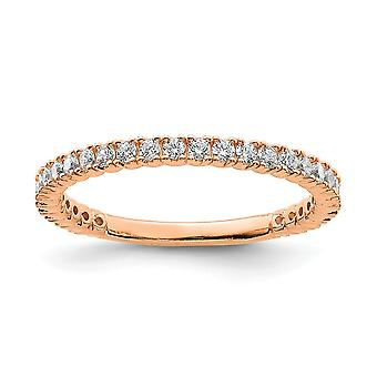925 Sterling Silver Polished Prong set Rose Gold Flashed Pink Plated With CZ Cubic Zirconia Simulated Diamond Ring Jewel